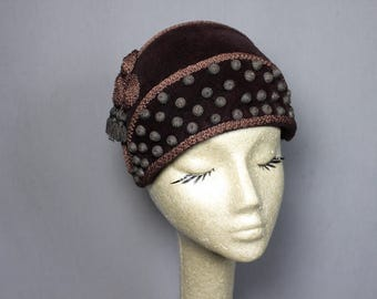 Sable Brown Calot Style Classic Vintage Chic Hat