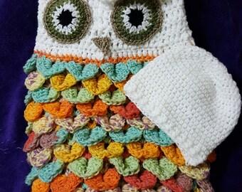 Owl Newborn Baby Snuggle Crochet Pattern