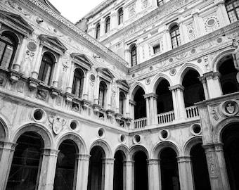 Venice, Italy, Saint Mark's Square, Black and White Photography