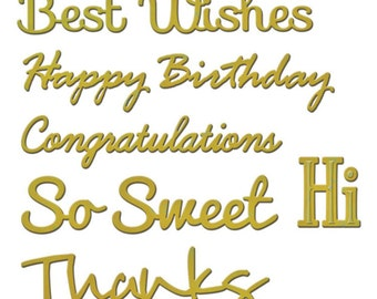 Spellbinders PHRASE SET ONE  Shapeabilities Cutting Dies Best Wishes Congratulations So Sweet Thanks Hi S4-563 1.cc53
