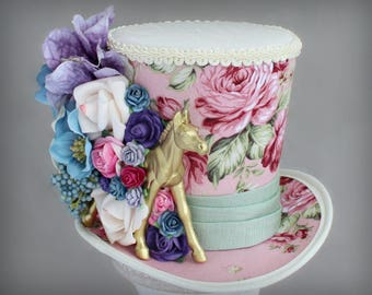 Kentucky Derby Hat, Golden Horse Hat, Mini Top Hats, Flower Mini Top Hat, Horse Mini Top Hat, Tea Party Flower Hat, Women Mini Top Hat