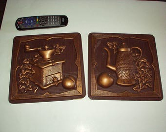 1973 MILLER STUDIO Inc. Pair of Chalkware Plaster 3-D Wall Picture Kitchen FRAMES Plaques w/Carved Coffee Pot, Apples, Old Time Machine-Rare