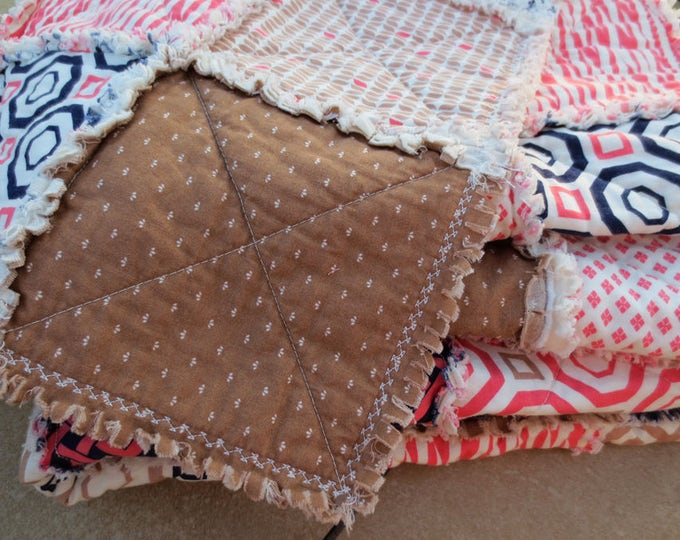 Handmade Shabby Chic Handmade Rag Quilt - Designer Collection -  Throw Size - Coral, Dark Blue, Cream, Tan - Ready to Ship