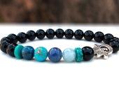 Protection Hamsa hand bracelet,Onyx Turquoise Aquamarine Blue quartz Ocean Jasper and Azurite bracelet, Onyx bracelet,Stone Hamsa bracelet