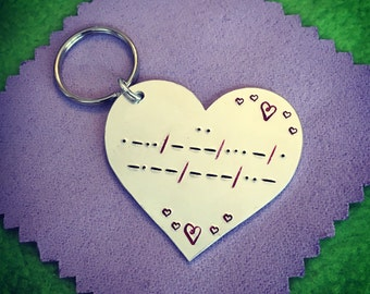 I Love You Keyring. Morse Code Gift. Valentines Present. Valentine's Gift. Love keyring. Keychain. For him. For her. Free UK p&p