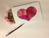 Handmade Fabric Valentine Card, Hand Embroidered Heart Card, Crazy Quilt Greeting Card, Fiber Art Greeting Card, Anniversary Card, Love Card