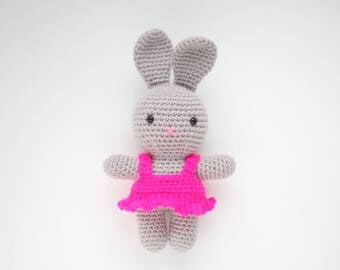Amigurumi bunny in a dress / Crochet plush toy / Ready to ship