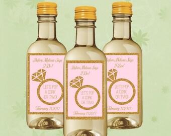 Bridal Shower Mini Wine Labels - Ring Mini Wine Bottle - Set of 10