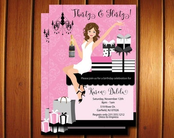 30th Birthday Invitations - Thirty and Flirty Adult Party For Her - DIY Printable Invitation