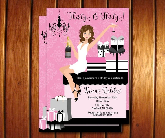 30th birthday invitations 30 and flirty adult party for her, Birthday invitations