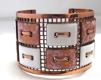 Vintage Enamel and Copper Cuff Bracelet Matisse Renior
