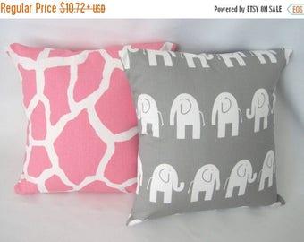 CLEARANCE Pillow Cover, Pillow, Baby, Nursery, Baby Girl, Decorative Throw Pillow, Pink Giraffe Pillow, Gray Elephant Pillow, Various Sizes
