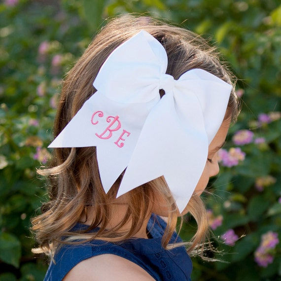 Monogram Hair Bow Monogram bow hair bow initials girls hair bow seersucker bow pink bow embroidered bow girly bow easter bow