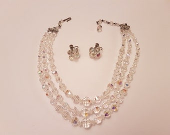 Lovely Triple Strand Crystal Aurora Borealis Necklace and Earrings
