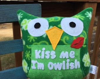 Kiss Me I'm Owlish plush Owl- plush owls- Green Plushie- St. Patrick's Day Owl plushie