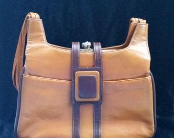 Vintage Lou Taylor Purse Vintage Italian Purse Vintage Leather Purse Lou Taylor Handbag Brown Purse Tan Purse 1950s Purse