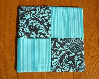Pot Holder - Brown Ornate/Teal Stripe