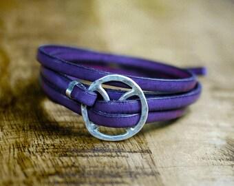 Leather Buckle Bracelet, Purple Leather Wrap Bracelet, Purple Bracelet, Mens Bracelet, Rustic Bracelet, Buckle Bracelet, Leather Cuff