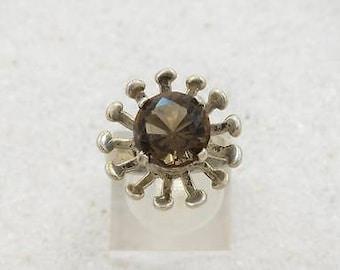 Vtg Mexico Sanchez 925 Sterling Silver Smoky Quartz Ring Size 6.5