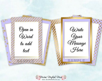 Blank Gift Thank You Tags Labels Lavender & Gold | Add Text in Word | Digital Instant Download