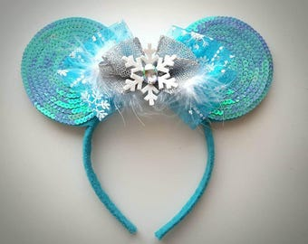 Elsa Frozen inspired Minnie Mouse Ears Headband Ice Queen/Anna/Olaf/Winter/Snow/Snowflake/Sequin/Birthday/Silver
