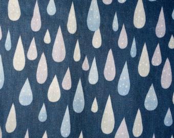 Water Rain Drops - Dark Blue Japanese Double Gauze Fabric - Lightweight Cotton - Kokka - HALF YD