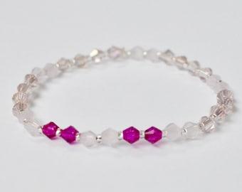 Swarovski Stretch Bracelet, Sparkly Jewelry, Pink Stackable Bracelet, Arm Candy, Boho Beaded Bracelet, Bridesmaid Gift, Gift for Her