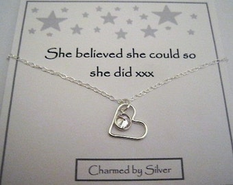 Sterling Silver Heart & Coloured Crystal Charm Necklace