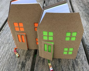 Kraft notebook, travel journal in the shape of a house