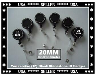 12) Blank ID Badge Reel Rhinestone ID Badge Retactable Reel Inside Diameter 20mm Bezel Blank With Circle Of Crystal Rhinestones 20mm ID