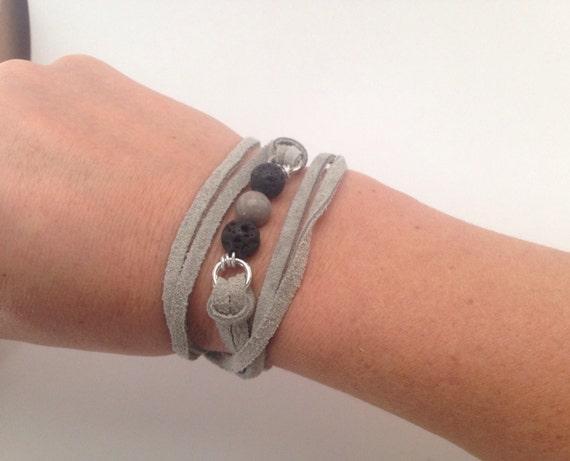 Gray Essential Oil Diffuser Bracelet