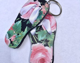 Rose Flip Flop Summer Time Vinyl Acrylic Keychain