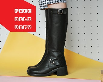 90s GRUNGE BOOTS leather boots GOTH boots gothic boots chunky boots rock boots tall leather boots buckle boot / Size 7 us / 4.5 uk / 37.5 eu