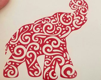 Swirly Elephant Decal