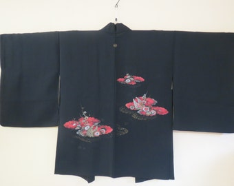 HAORI Vintage Japanese Silk Haori Kimono Jacket Black Silk Haori Urushi Flowers Clouds Red Black Handwoven Haori Black  Silk Kimono Jacket