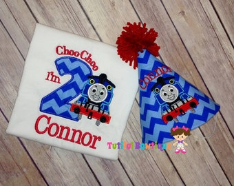 Choo Choo I'm TWO,  train birthday shirt, train birthday party, choo choo birthday hat