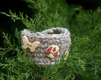 Boho Crochet cuff Bohemian hemp bracelet wrist warmer jewelry Rustic Jute Hippie bracelet Gypsy cuff bracelets earthy Country style cuff