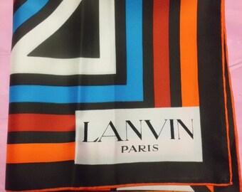 French vintage Lanvin chiffon silk scarf square hand Rolled Noble woman red blue signe Paris Lanvin blue orange France Paris Chic No Worn