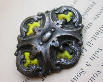 French antique 19th century art nouveau solid bronze silver enamel brooch  large brooch ornate yellow enamel old brooch