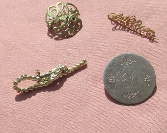 Vintage Brooch Lot Engraved Initials Wire Kathleen TLC