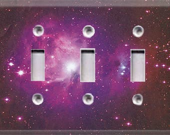 Cosmic Shine - Purple Triple Light Switch Cover