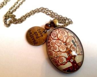 Sautoir cabochon ovale verrre vintage bronze, l'arbre de vie de Klimt, perle œil de tigre, médaille
