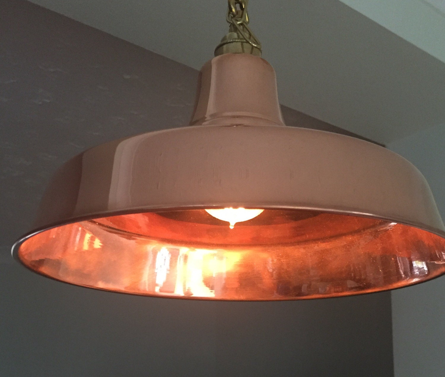 Hand Made Solid Copper Pendant Light Fittings 32cms