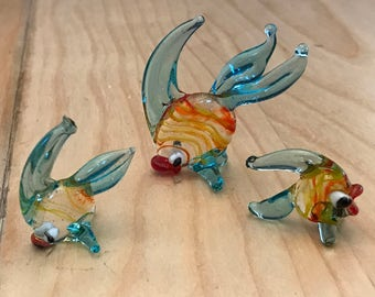 Vintage hand blown glass fish # 1603 set 3 pcs