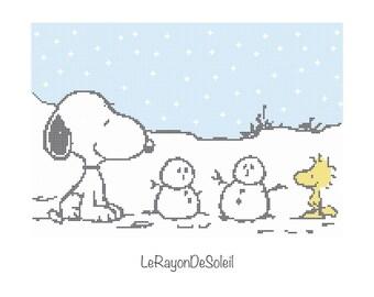 Cross stitch pattern Snoopy Woodstock snow man winter Christmas - Instant download PDF
