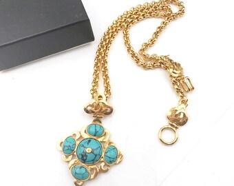 Chanel Vintage 24K Gold Plated Argyle CC Turquoise Long Necklace