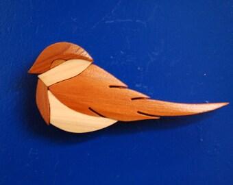 CHICKADEE BIRD MAGNET ...  Original design, hand crafted from exotic wood