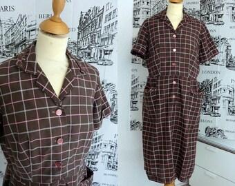 LAST CHANCE 50s PLAID checked cotton dress 33w M L