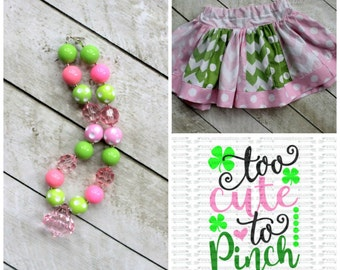 Girls St Patrick's Day outfit - Shamrock skirt set with matching HTV too cute to pinch shirt in pink green baby girl