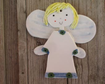 Angel,Ceramic Angel Ornament,Guardian Angel,Pottery Angel,Blue,Handmade Angel,Get well gift,Baptism Gift Boy,First Communion Boy